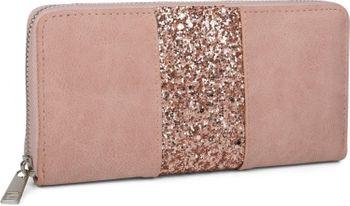 styleBREAKER Geldbörse mit umlaufendem Pailletten Streifen, Reißverschluss, Portemonnaie, Damen 02040056 – Bild 1