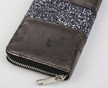 styleBREAKER Geldbörse mit umlaufendem Pailletten Streifen, Reißverschluss, Portemonnaie, Damen 02040056 – Bild 8