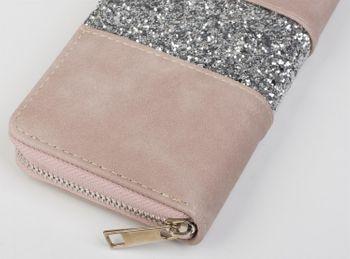 styleBREAKER Geldbörse mit umlaufendem Pailletten Streifen, Reißverschluss, Portemonnaie, Damen 02040056 – Bild 10