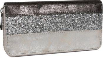 styleBREAKER Geldbörse mit quer verlaufendem Pailletten Streifen, umlaufender Reißverschluss, Portemonnaie, Damen 02040057 – Bild 3