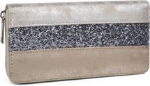 styleBREAKER Geldbörse mit quer verlaufendem Pailletten Streifen, umlaufender Reißverschluss, Portemonnaie, Damen 02040057 – Bild 6