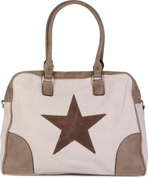 styleBREAKER canvas shopper bag with sewn-on star, faux leather applique, shoulder bag, satchel, women 02012083 – Bild 7