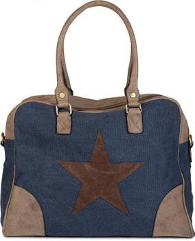 styleBREAKER canvas shopper bag with sewn-on star, faux leather applique, shoulder bag, satchel, women 02012083 – Bild 5