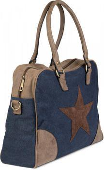 styleBREAKER Canvas Shopper Tasche mit aufgenähtem Stern, Kunstleder Applikationen, Schultertasche, Umhängetasche, Damen 02012083 – Bild 8