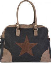 styleBREAKER Canvas Shopper Tasche mit aufgenähtem Stern, Kunstleder Applikationen, Schultertasche, Umhängetasche, Damen 02012083 – Bild 2