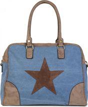 styleBREAKER canvas shopper bag with sewn-on star, faux leather applique, shoulder bag, satchel, women 02012083 – Bild 1