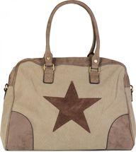 styleBREAKER Canvas Shopper Tasche mit aufgenähtem Stern, Kunstleder Applikationen, Schultertasche, Umhängetasche, Damen 02012083 – Bild 3