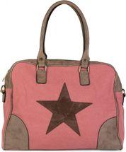 styleBREAKER canvas shopper bag with sewn-on star, faux leather applique, shoulder bag, satchel, women 02012083 – Bild 6