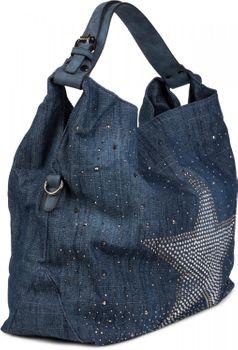 styleBREAKER denim hobo bag with glittering rhinestone star, rhinestone rivets, shoulder bag, shopper bag, women 02012085 – Bild 3