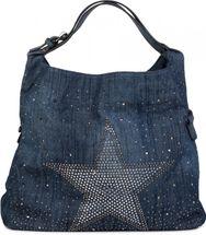 styleBREAKER Jeans Beuteltasche mit glitzer Strass Stern, Strassnieten, Schultertasche, Shopper, Damen 02012085 – Bild 1