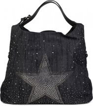 styleBREAKER denim hobo bag with glittering rhinestone star, rhinestone rivets, shoulder bag, shopper bag, women 02012085 – Bild 2