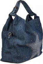 styleBREAKER Jeans Beuteltasche mit glitzer Strass Stern, Strassnieten, Schultertasche, Shopper, Damen 02012085 – Bild 3