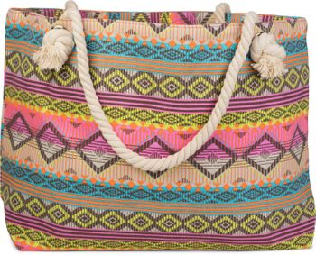 styleBREAKER XL ethnic-style beach bag with diamonds and stripe pattern all-over print, shoulder bag, shopper, women 02012086 – Bild 2