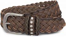 styleBREAKER vintage-style belt with double-braided look with rhinestone jewellery band on the buckle, braided belt, one size, unisex 03010067 – Bild 1