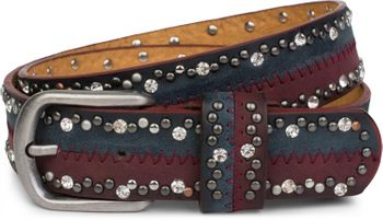 styleBREAKER vintage-style riveted belt with rhinestones in 2-tone design and decorative stitching, glittering belt, 2-colour, women 03010068 – Bild 3