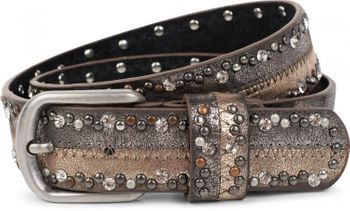 styleBREAKER vintage-style riveted belt with rhinestones in 2-tone design and decorative stitching, glittering belt, 2-colour, women 03010068 – Bild 5