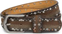 styleBREAKER vintage-style riveted belt with rhinestones in 2-tone design and decorative stitching, glittering belt, 2-colour, women 03010068 – Bild 1