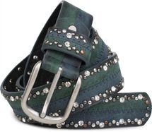 styleBREAKER vintage-style riveted belt with rhinestones in 2-tone design and decorative stitching, glittering belt, 2-colour, women 03010068 – Bild 11