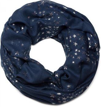 styleBREAKER loop tube scarf with glittering metallic stars all-over print pattern, scarf, kerchief, women 01016118 – Bild 5