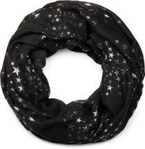 styleBREAKER Loop Schal mit glitzerndem Metallic Sterne All Over Print Muster, Schlauchschal, Tuch, Damen 01016118 – Bild 1