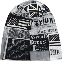 styleBREAKER Beanie Mütze im USA und UK Newspaper All Over Print Look, Slouch Longbeanie, Unisex 04024078 – Bild 3