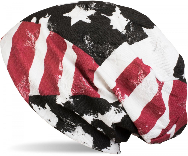Slouch Longbeanie Unisex Beanie Mütze im USA Flag Stars /& Stripes Vintage Look