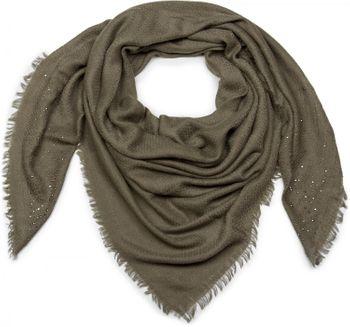 styleBREAKER Vierecktuch mit Jaquard Muster und Strass Nieten, Karo Fransen Schal, Tuch, Damen 01016122 – Bild 9