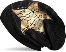 styleBREAKER Strick Beanie Mütze mit Vintage Stern Print und Strass Rand, Strickmütze mit Streifen Muster, Unisex 04024083 – Bild 1