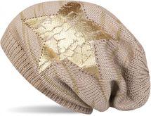 styleBREAKER Strick Beanie Mütze mit Vintage Stern Print und Strass Rand, Strickmütze mit Streifen Muster, Unisex 04024083 – Bild 7