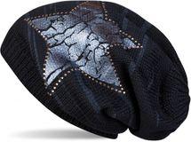 styleBREAKER Strick Beanie Mütze mit Vintage Stern Print und Strass Rand, Strickmütze mit Streifen Muster, Unisex 04024083 – Bild 6