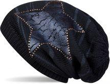 styleBREAKER Strick Beanie Mütze mit Vintage Stern Print und Strass Rand, Strickmütze mit Streifen Muster, Unisex 04024083 – Bild 9