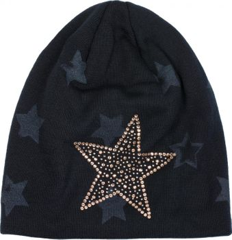 styleBREAKER warm fine knit beanie hat with all-over star pattern, rhinestone star and extremely soft fleece inner lining, unisex 04024084 – Bild 12