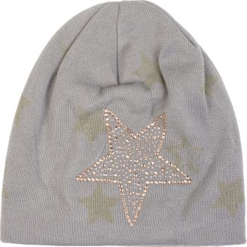 styleBREAKER warm fine knit beanie hat with all-over star pattern, rhinestone star and extremely soft fleece inner lining, unisex 04024084 – Bild 13