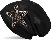 styleBREAKER warm fine knit beanie hat with all-over star pattern, rhinestone star and extremely soft fleece inner lining, unisex 04024084 – Bild 1