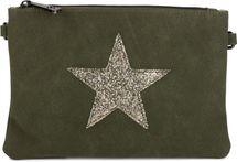 styleBREAKER Clutch Abendtasche mit Pailletten Stern in Wildleder Optik, Schulterriemen und Trageschlaufe, Damen 02012092 – Bild 5