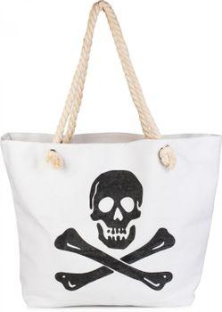 styleBREAKER Strandtasche mit Totenkopf Aufdruck und Reißverschluss, Badetasche, Schultertasche, Shopper, Damen 02012104 – Bild 3
