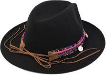 styleBREAKER Fedora Filzhut mit Webborte, Feder Muschel Münze und Stein Anhänger im Boho Style, Cowboy Hut, Unisex 04025014 – Bild 2