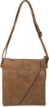 styleBREAKER Messenger Bag Umhängetasche mit Nieten Stern und überlappender Optik, Schultertasche, Handtasche, Damen 02012105 – Bild 1
