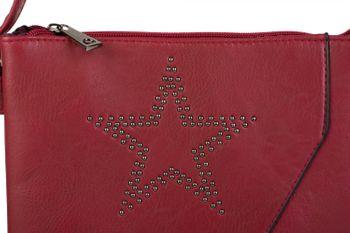 styleBREAKER Messenger Bag Umhängetasche mit Nieten Stern und überlappender Optik, Schultertasche, Handtasche, Damen 02012105 – Bild 20