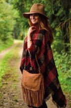 styleBREAKER Umhängetasche mit Fransen und goldenen Schmuck-Nieten, Schultertasche, Tasche, Damen 02012109 – Bild 15