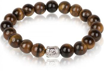 styleBREAKER Onyx / Tigerauge Armband mit Buddha Kopf Schmuckperle und Gummizug, Kugelarmband, Unisex 05040066 – Bild 2