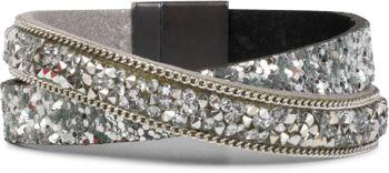 styleBREAKER Wickelarmband mit Pailletten, Strass, Glaskristallen und Kette besetzt, Magnetverschluss, Armband, Damen 05040068 – Bild 1