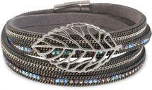 styleBREAKER Wickelarmband mit Strass und Ketten, Blatt Anhänger, Magnetverschluss, Armband, Damen 05040069 – Bild 1