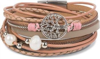 styleBREAKER Wickelarmband mit Perlen, Ketten, Flecht Element und Lebensbaum Anhänger, Magnetverschluss, Armband, Damen 05040070 – Bild 10