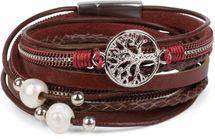 styleBREAKER Wickelarmband mit Perlen, Ketten, Flechtelement und Lebensbaum Anhänger, Magnetverschluss, Armband, Damen 05040070 – Bild 5