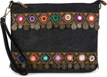 styleBREAKER Clutch in Jute Canvas Optik im trendigen Ethno Style mit Stickereien, Münzen und kleinen Spiegeln verziert, Umhängetasche, Damen 02012121 – Bild 1