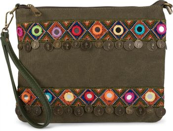 styleBREAKER Clutch in Jute Canvas Optik im trendigen Ethno Style mit Stickereien, Münzen und kleinen Spiegeln verziert, Umhängetasche, Damen 02012121 – Bild 6