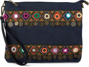 styleBREAKER Clutch in Jute Canvas Optik im trendigen Ethno Style mit Stickereien, Münzen und kleinen Spiegeln verziert, Umhängetasche, Damen 02012121 – Bild 7