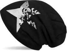 styleBREAKER warme Feinstrick Beanie Mütze mit Vintage Stern Print und sehr weichem Innenfutter, Slouch Longbeanie, Unisex 04024088 – Bild 2