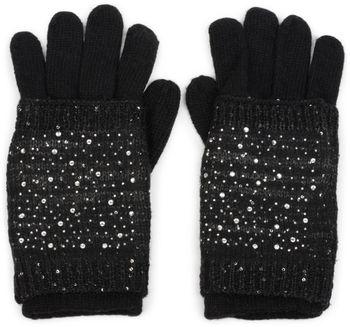 styleBREAKER Damen Strickhandschuhe, Handschuhe, abnehmbare Manschette mit Strass und Pailletten, doppelter Bund 09010006 – Bild 1